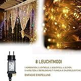 Led Lichtervorhang für Weihnachten 300 leds sterne Lichterkette weihnachtsdeko Innen Außen Garten Fenster deko Innenbeleuchtung warmweiß 3x3m - 4