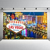 Mehofoto 7 x 5 ft fondo de escena de Las Vegas para fotografía Tall Edificios Sky Wheel Las Vegas Billboard Fotografía estudio telón de fondo