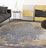 Grey & Yellow Abstract Art Area Rug, Contemporary Style - Abani Rugs Laguna Collection Modern 6' x 9' Rectangle Accent Rug