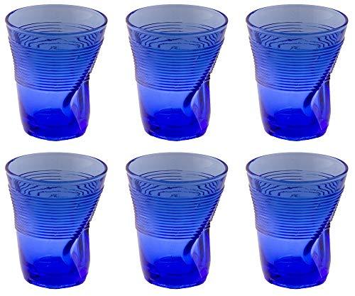 Kaleidos Set 6 Bicchieri Accartocciati 36 cl Ø9 cm in Vetro Pressato Blu