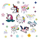 32 Pieces Unicorn Iron on Patches Rainbow Star Cloud Patches Cartoon Embroidered Iron on Patch Assorted Styles Patches for DIY Craft Clothing Jeans Decoration