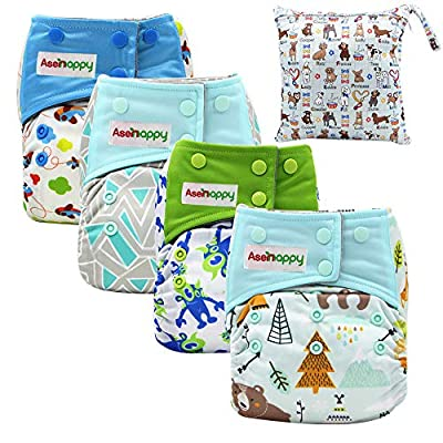 Asenappy All in One Cloth Diaper Reusable AIO Sewn Inserts with Pocket Overnight (New Color)