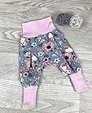 Pumphose Jersey haremshose Gr. 56-110, hose mädchen Blumen grau rosa Babyhose, Kinderhose