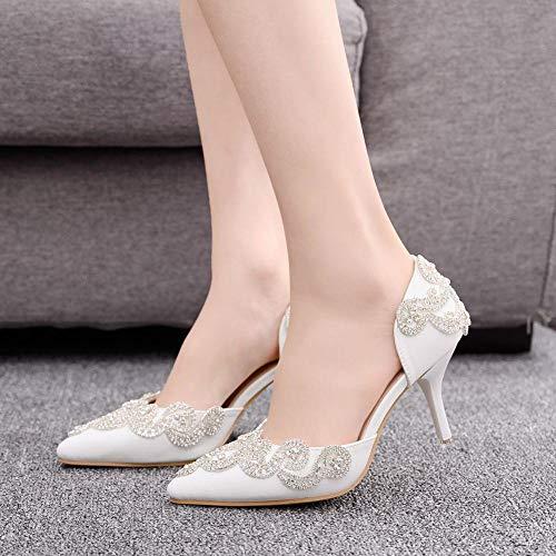 xiangqian Witte bruidsrubber met strik van strass, bruid met strass, 8 cm sandalen