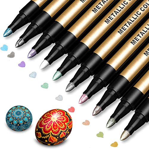Metallic Marker Pens Paint Pens for Rock Painting Black Paper Scrapbooking Kit Photo Album Card Making DIY Craft Glass Wood Set of 10 Metallic Colors  Medium Tip Paint Markers