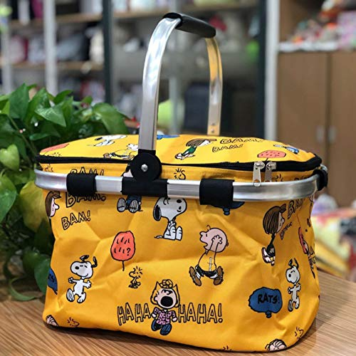 Karikatur Faltender Picknickkorb Im Freien, Einkaufskorb, Eisbeutel-Aufbewahrungstasche, Isolationsbeutel 40 * 25 * 23Cm Gelbe Unordentliche Blume Snoopy
