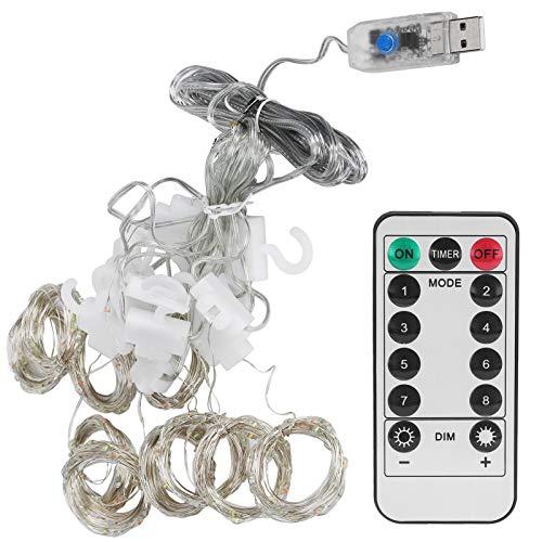 Cadena de luz de cortina BLLBOO-3x3 m Cadena de luz de cortina de alambre USB de cobre para decoración navideña del hogar con control remoto