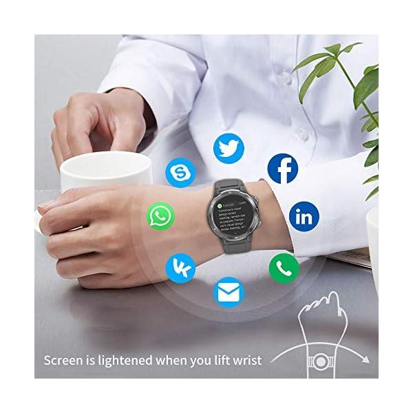 Reloj Inteligente Hombre Mujer, GRDE Smartwatch Redondo 12 Modo Deportivo con (Monitor de Ritmo Cardíaco/Sueño/Calorías… 3