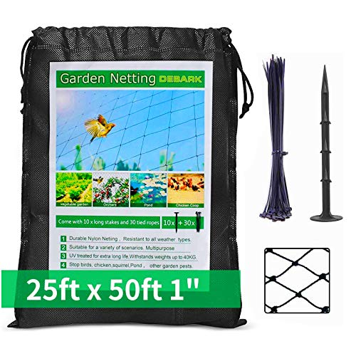 DEBARK 25' X 50' Bird Netting [Heavy Duty] Poultry Netting Protect Plants and Fruit Trees Garden Net 1' Square Mesh Size (25' x 50'-1')