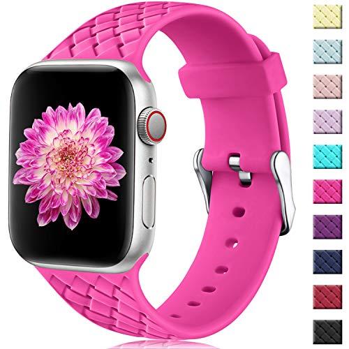 Oielai Cinturino Compatibile con Apple Watch 42mm 44mm, Impermeabile Morbido Silicone Tessere Sostituzione Sportiva Cinturino per Iwatch Serie 5 4 3 2 1, 42mm/44mm M/L Rosa Rossa