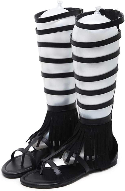 Summer High European Tassel Flat Sandals,Black,37