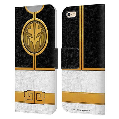 Head Case Designs sous Licence Officielle Power Rangers Ranger Blanc Costumes Rétro Coque en Cuir à Portefeuille Compatible avec Apple iPhone 6 Plus/iPhone 6s Plus