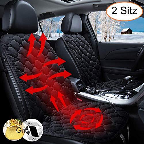 STYLINGCAR Sitzheizung Auto Heizkissen 12V Beheizte Sitzauflage Universal Regulierbare Vordersitz Heizauflage (Schwarz 2 Stück)