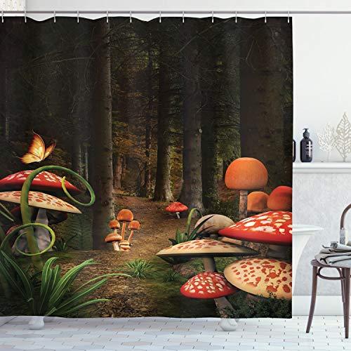 "Ambesonne Mushroom Shower Curtain, Mushrooms in Deep Dark Forest Fantasy Nature Theme Earth Path Mystical Image, Cloth Fabric Bathroom Decor Set with Hooks, 75"" Long, Pomegranate Green"