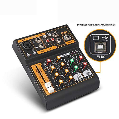 Great Features Of Channel Mixer 4-Channel Mini DJ Mixer Small Size 48V Phantom Power Audio Mixer Pro...
