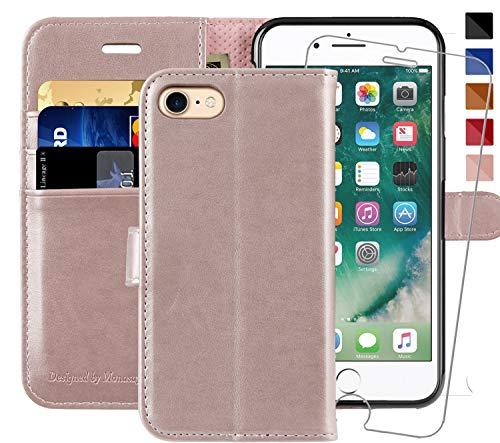 iPhone SE 2020 Hülle,iPhone 8/7 hülle,4.7 Zoll,MONASAY [Gehärteter Glasschirmbeschützer Inbegriffen][Kartenfach] [Standfunktion] Klappbar Leder Tasche Brieftasche Schutzhülle für Apple iPhone 7/8/SE2