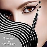 MIOBLET 1PC Super Double-headed Black Liquid Eyeliner Pencil Pen Waterproof Star Heart Moon Flower Shape Seal Stamp Tattoo Eyes Liner Makeup (Star Seal)