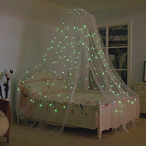 Miavogo Moskitonetz Betthimmel mit fluoreszierenden Sternen, Mückennetz Insektenschutz Rund Groß Reise Baby Kinder Mädchen Jungen für Einzelbett Doppelbett Kinderbett Babybett, 1020 x 230 x 56 cm