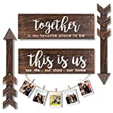 AerWo 4pcs Farmhouse Rustic Wall Decor Signs, This is Us Wooden Wall Art Sign, Together Hanging Wooden Sign and 2pcs Wood Arrow Signs for Housewarming Gift Home Decor Living Room Bedroom Wall Decor