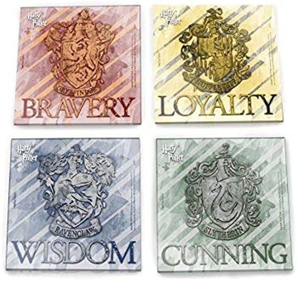 Harry Potter Glass Coaster Set Hogwarts House Crests Comes With Stylish Wooden Holder