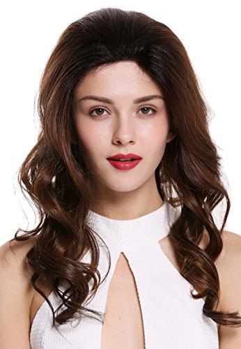 WIG ME UP ® - RGF-5547-LF-OP2/430 peluca de mujer front lace castaño oscuro rojo balayage mix pelo largo ondulado