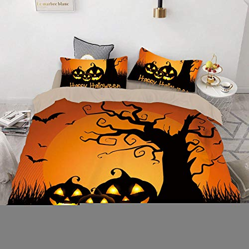 geek cook Bed Sheet Set,Quilt Cover Printed Three-piece Set Halloween Western Festival All Saints Day Ghost Quilt Cover-27_US King (264×228)
