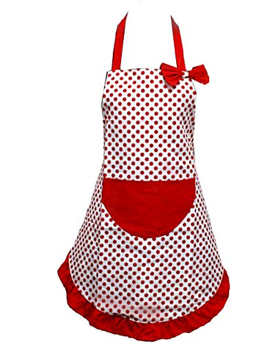 Hyzrz Lovely Lady Red Dot Kitchen Flirty Canvas Restaurant Cake Funny Aprons for Women Chef Bib Gift