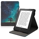 kwmobile Funda Compatible con Kobo Aura H2O Edition 2 - Carcasa para e-Book de Cuero sintético - árbol y Estrellas Azul/Gris/Negro