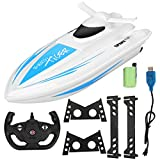 RC Boat, 2.4Ghz 4 Channel Remote Control Boat for Pools & Lakes, Electric Racing Boat Yacht Model Boat Toy for Kids(Blue)