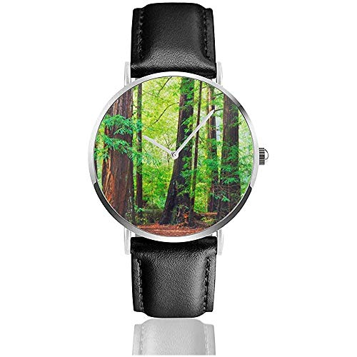 Secuoyas Árboles Bosque lluvioso del noroeste Tropical Escénico Naturaleza Salvaje Exuberante Imagen de Rama Correa de Cuero Relojes de Pulsera
