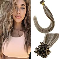LaaVoo U Tip Hair Extensions Keratin Hair Treatment Color Light Brown Highlighted With Lightest Blonde Fusion Hair...