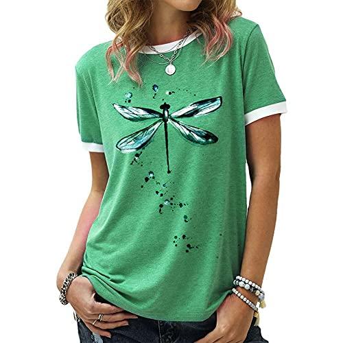 Zytyeu Tops Mujer Elegante Estampado Empalme Cuello Redondo Mujer Camisa Generoso Casual Temperamento Clásico Personalidad Moda Diseño Exquisito Moda Elasticidad Mujer Blusa C-Green L