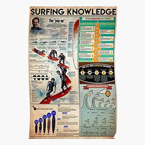 Surfers Travel Wave Waves Sunset Surf Knowledge Surfing Regalo para la decoración del hogar Wall Art Print Poster 11.7 x 16.5 inch