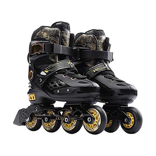 riou Erwachsene Inline Skates Rollschuhe Verstellbar Schwarz Inliner Inlineskates für Damen Herren, Größe 37–44 (43)