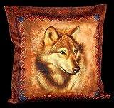 Western lobo - Funda de cojín 45 x 45 cm Lobos Cojín Funda Decoración De Fantasía