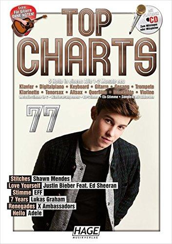 Top Charts 77 mit Playback CD: Die aktuellsten Hits der erfolgreichsten Stars und das Beste aus den Charts! Stitches - Love Yourself - Stimme - 7 Years - Renegades - Hello