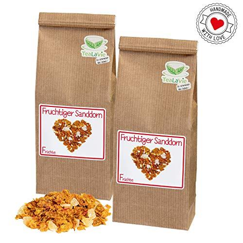 TEALAVIE - 2er Set Früchtetee lose 140g | Fruchtiger Sanddorn (>60%) - fruchtig milder Sanddorn | Nachfüllpack - nachhaltig & umweltfreundlich | 2x 70g Refill loser Früchte Tee