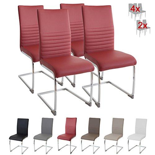 Albatros Silla Cantilever BURANO Set de 4 sillas Rojo, SGS Probado