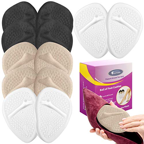 6 Pairs Metatarsal Pads for Women, Professional Reusable Silicone Ball of...