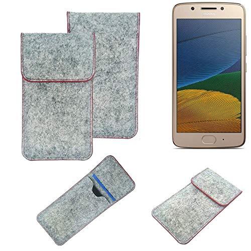 K-S-Trade® Handy Schutz Hülle Für Lenovo Moto G5 Dual-SIM Schutzhülle Handyhülle Filztasche Pouch Tasche Hülle Sleeve Filzhülle Hellgrau Roter Rand