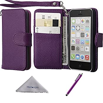 Wisdompro iPhone 5c Case Premium PU Leather 2-in-1 Protective Flip Folio Wallet Case with Multiple Credit Card Holder/Slots and Wrist Lanyard for Apple iPhone 5c  Purple
