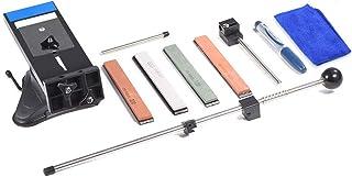HelloCreate Afilador de cuchillos, sistema profesional de afilado de cuchillos de ángulo fijo con 4 piedras de afilar herramienta afiladora de cocina