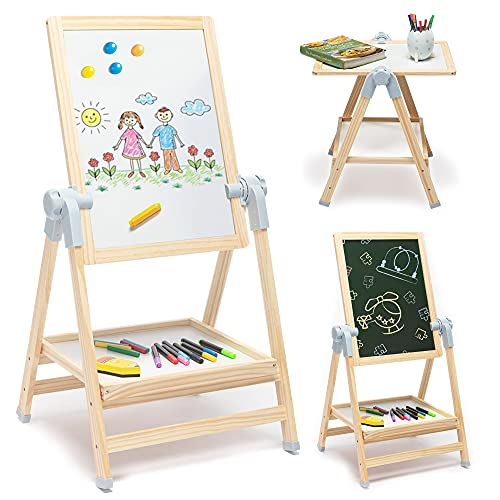 Good Bernie Art Easel for Kids, Children Easel Stand, 360° Rotating Drawing Easels with Magnetic Dry Erase Board & Chalkboard and Adjustable Height, 28-39in