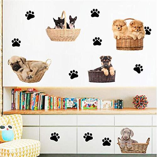 Etiqueta de la pared Etiqueta Perros divertidos pegatinas de pared de PVC DIY huella de cachorro pegatina decoración del hogar calcomanías de pared póster papel tapiz Mural decoración de habitación 4