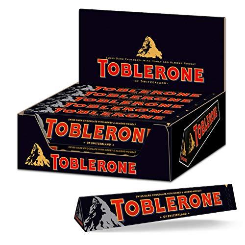 Toblerone Dunkel 20 x 100g, Dunkle Schweizer Schokolade mit Honig- und Mandelnougat