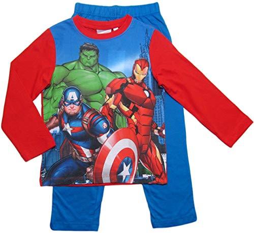 Avengers Schlafanzug Jungen Marvel Rundhalsausschnitt Pyjama (Blau-Rot, 116-122)