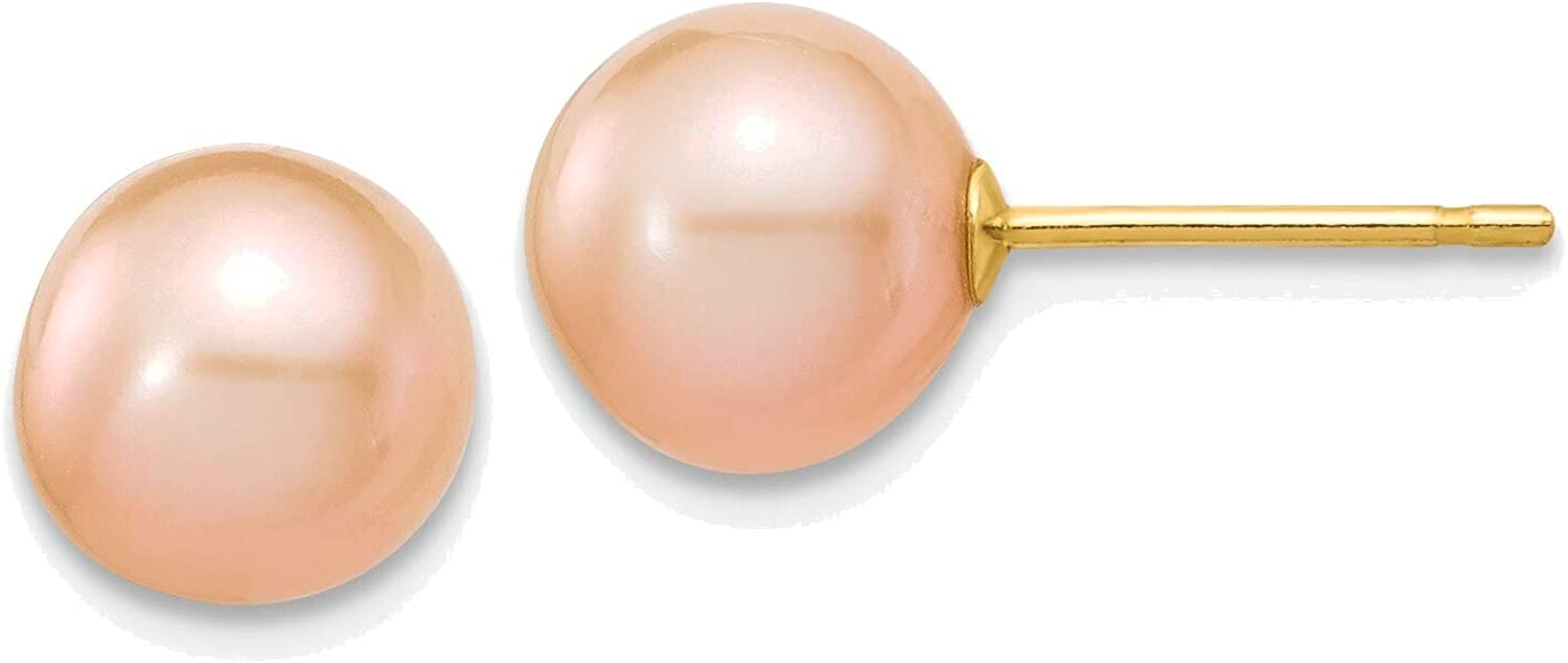 7-8mm Pink Round Freshwater Cultured Pearl Stud Post Earrings in