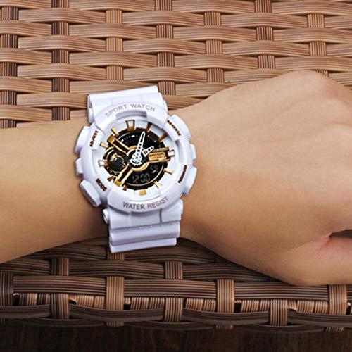 TWCAM Acero Cuero Pulsera Hombre- Reloj Reloj Electrónico De Doble Pantalla Reloj Masculino Multifunción Cuenta Atrás De Natación Impermeable, Platino