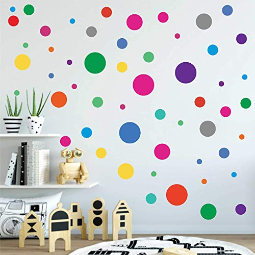 PARLAIM Rainbow Multi Size Polka Dot Wall Decals, Peel and Stick Wall Stickers Perfect for Kids Room,Living Room,Bedroom Multicolor (4-1 Inch X 130Circles)