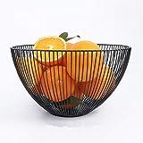 Teabelle Frutero de alambre de metal, estilo geométrico para almacenamiento y decoración, color negro (Redondo